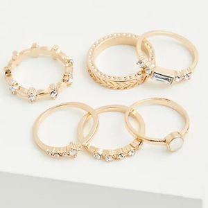 🆕Gold-Tone Baguette Circle Rhinestone Ring 6 Set